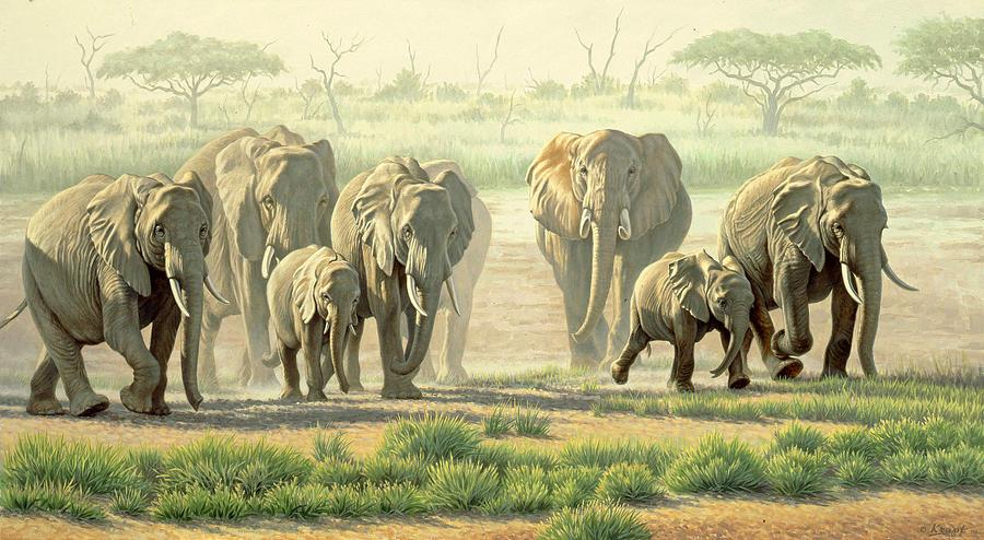 Wildlife Painting - Amboseli Promenade by Paul Krapf