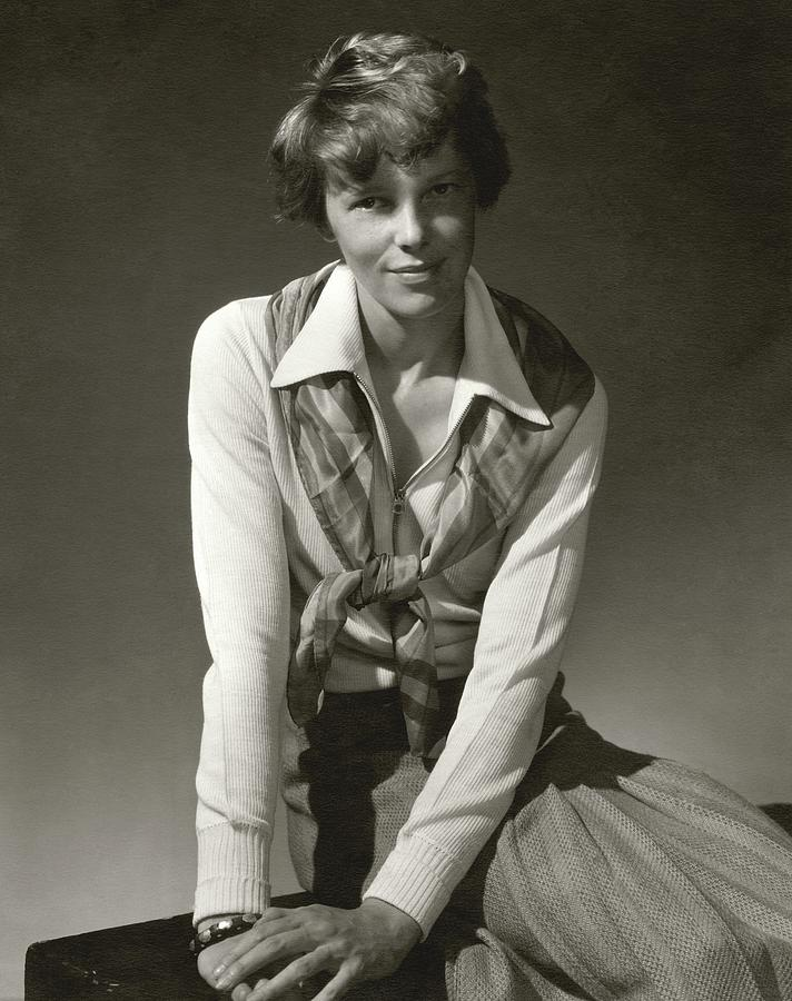 Amelia Earhart Wearing A Scarf Photograph by Edward Steichen