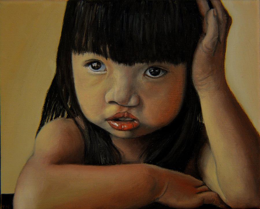 Children Paintings Painting - Amelie-an 3 by Thu Nguyen