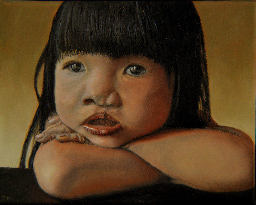 Child Portrait Painting - Amelie-an 4 by Thu Nguyen