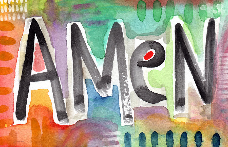 Amen Colorful Word Art Painting Painting By Linda Woods