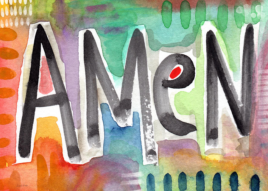 Art For Interior Designers Mixed Media - Amen Greeting Card by Linda Woods