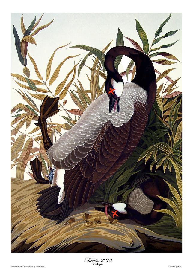 Geese Painting - America 2013 by Philip Slagter