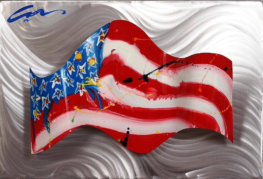 Flag Sculpture - America Wave by Mac Worthington