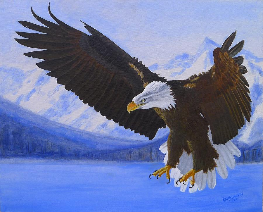 Eagle Painting - American Bald Eagle by David Hawkes