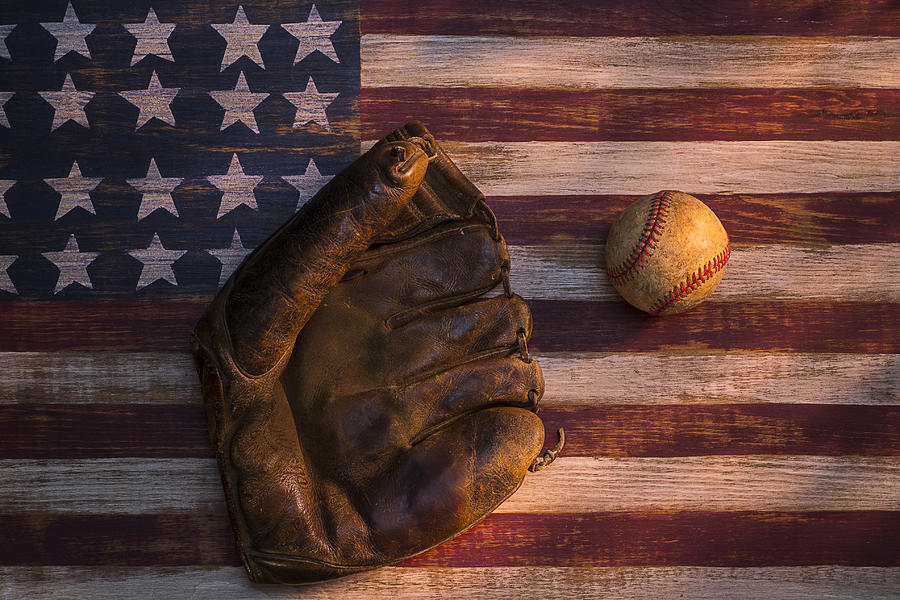 Mitts Photograph - American Baseball by Garry Gay