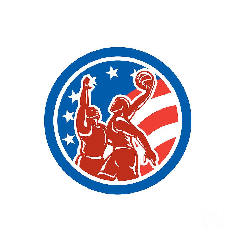 American Digital Art - American Basketball Player Dunk Block Circle Retro by Aloysius Patrimonio