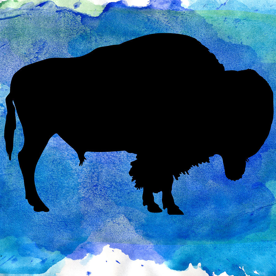 American Bison In Watercolor Painting
