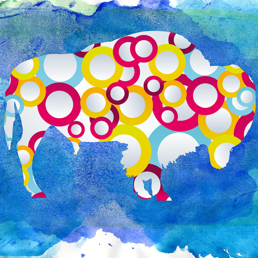 American Bison In Circles Painting