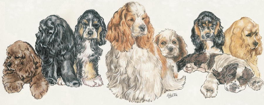 Dog Mixed Media - American Cocker Spaniel Puppies by Barbara Keith