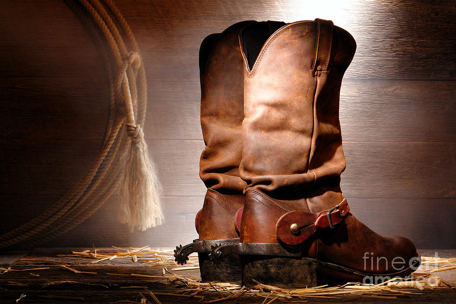 Western Photograph - American Cowboy Boots by Olivier Le Queinec