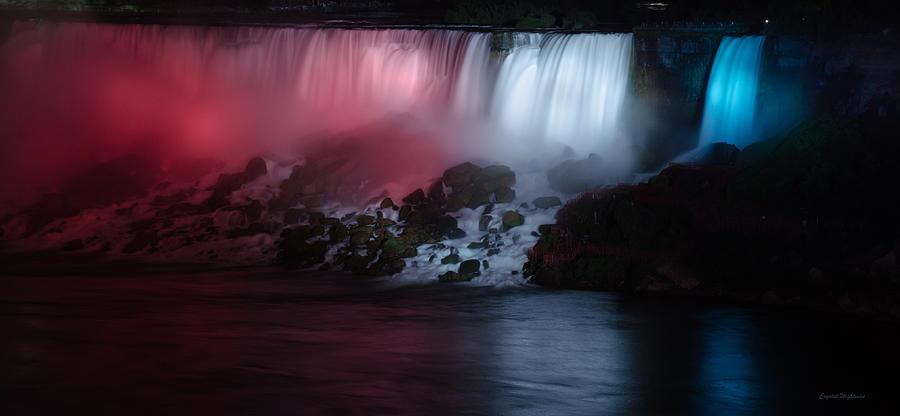 American Falls Lit Up At Night Photograph