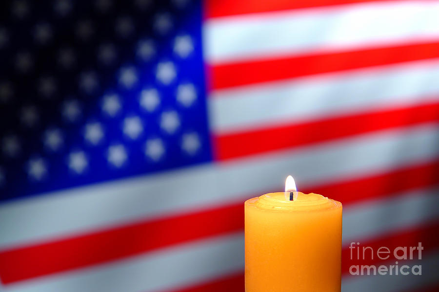 American Photograph - American Flag And Candle by Olivier Le Queinec
