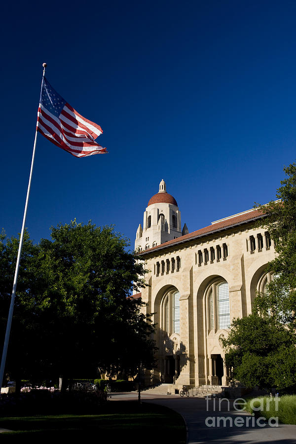 Travel Photograph - American Flag And Hoover Tower Stanford University by Jason O Watson