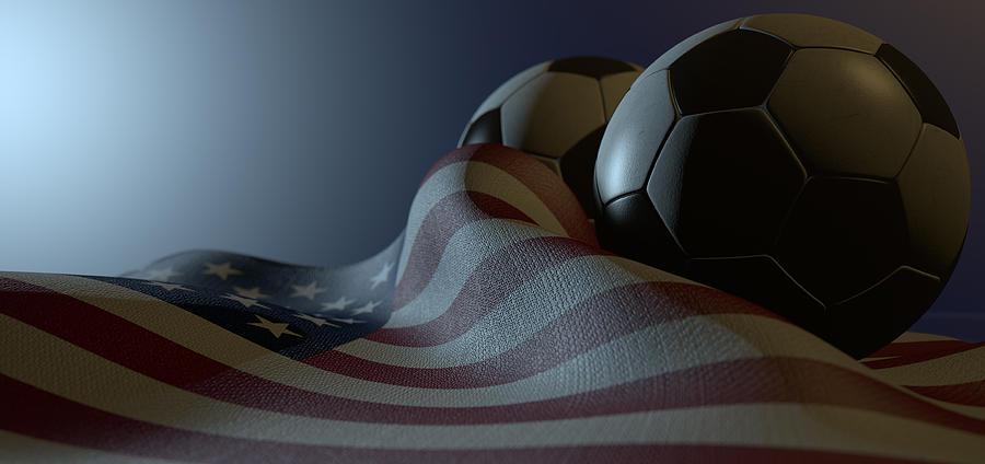 American Flag And Soccer Ball Digital Art