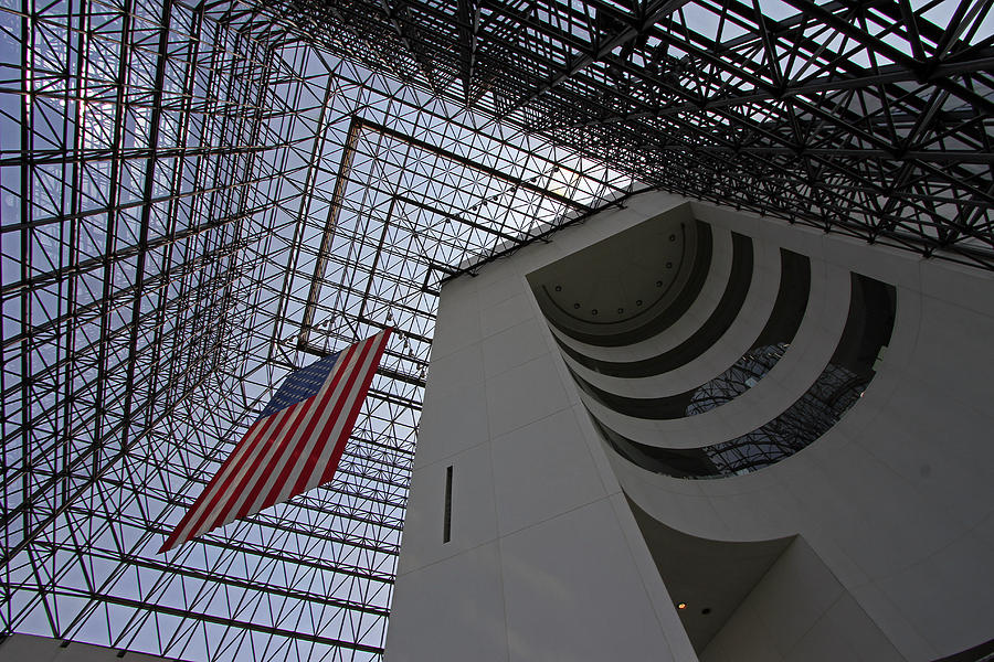Dorchester Photograph - American Flag At The Jfk Library by Juergen Roth