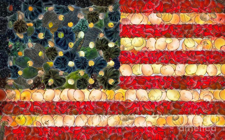 American Flag Fruit And Vegetable Art Ii Digital Art By