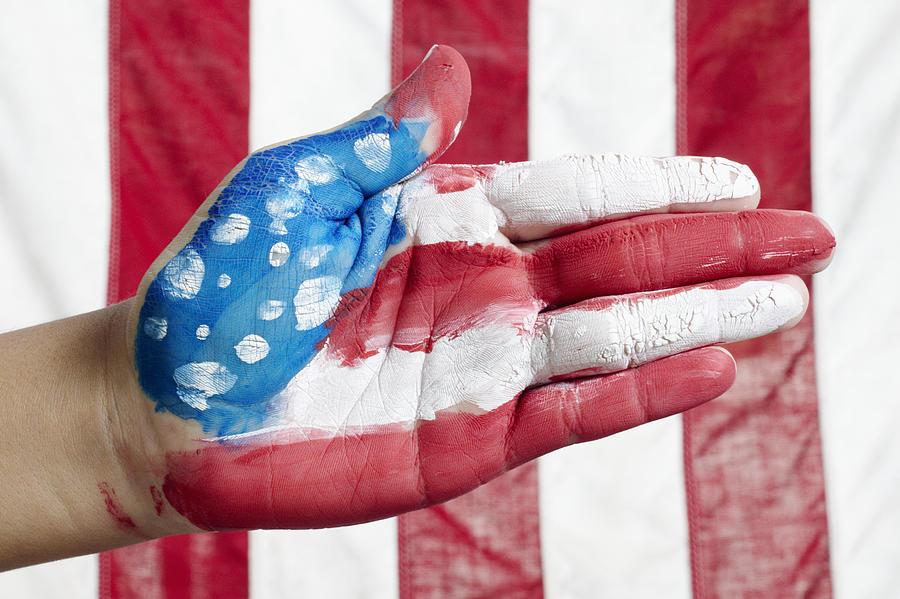 American Flag Hand Photograph
