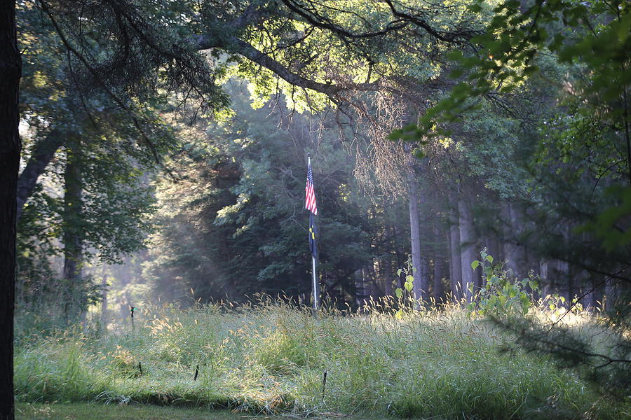 American Flag In The Morning Photograph