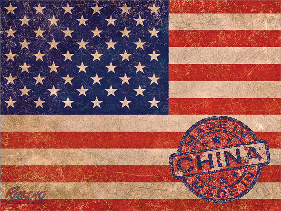 American Flag Painting - American Flag Made In China by Tony Rubino