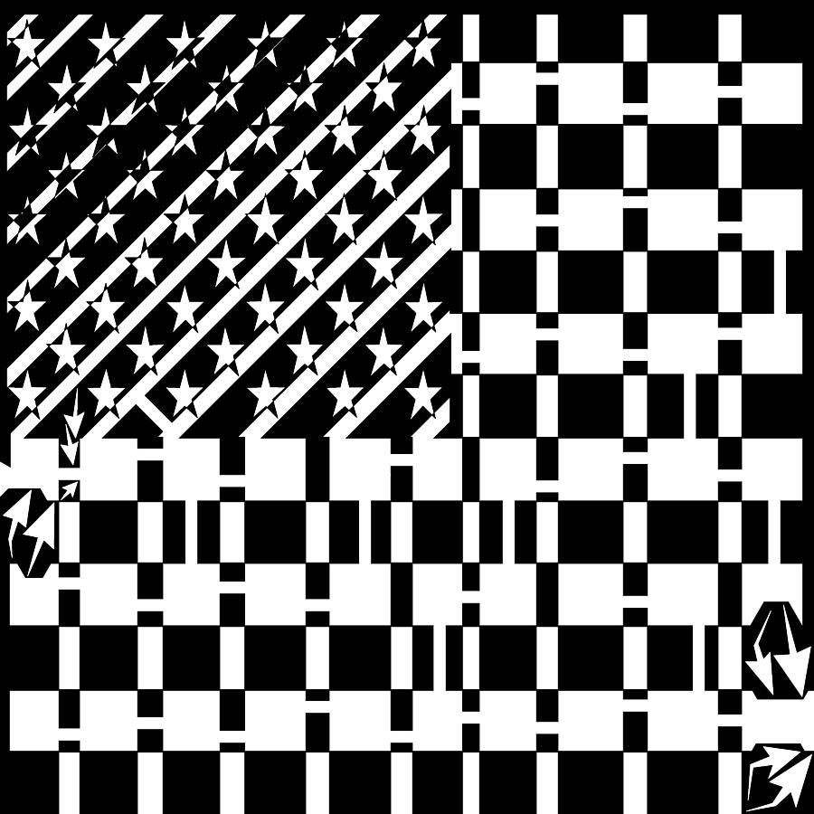 Usa Drawing - American Flag Maze  by Yonatan Frimer Maze Artist