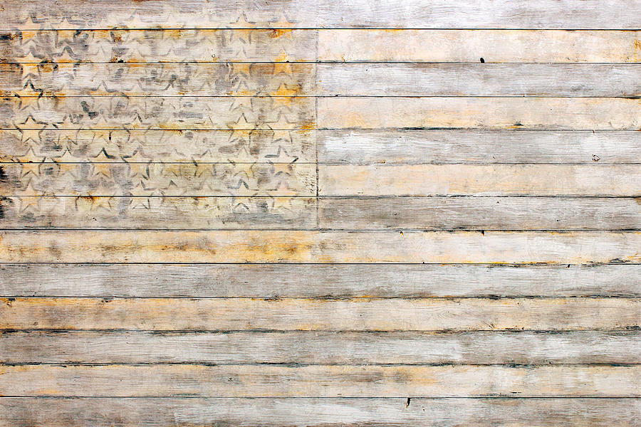 American Mixed Media - American Flag On Distressed Wood Beams White Yellow Gray And Brown Flag by Design Turnpike