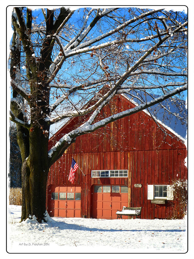 Flag Photograph - American Flag Red Barn by Dee Flouton