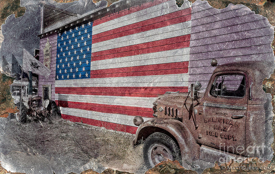Route 66 Photograph - American Flag Route 66 by Matt Suess