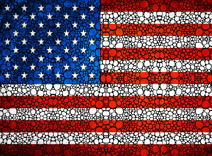 Flag Painting - American Flag - Usa Stone Rockd Art United States Of America by Sharon Cummings