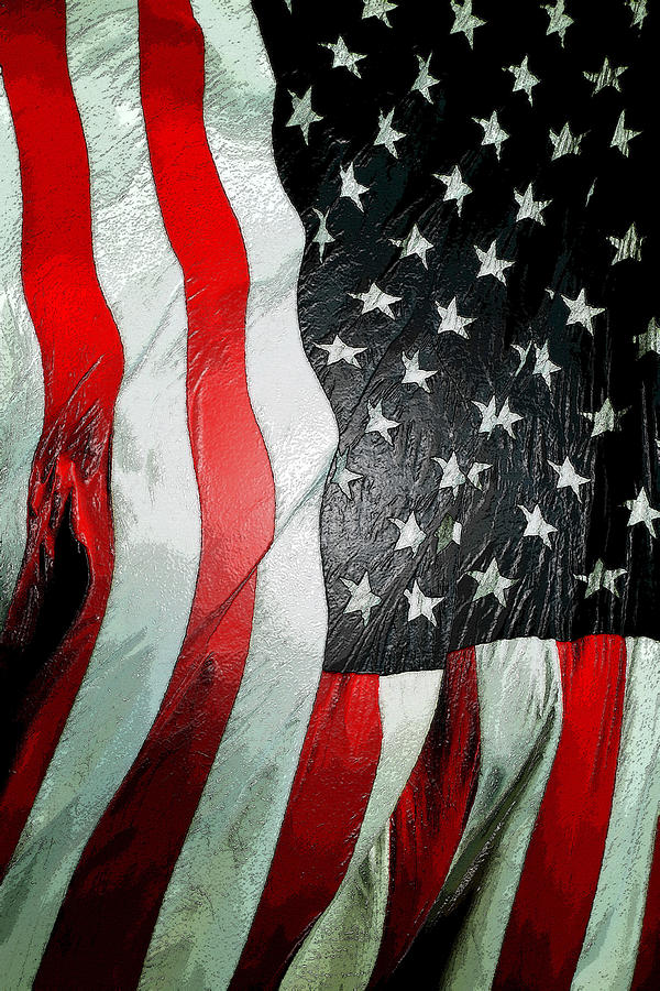 american flag vertical painting by david lee thompson
