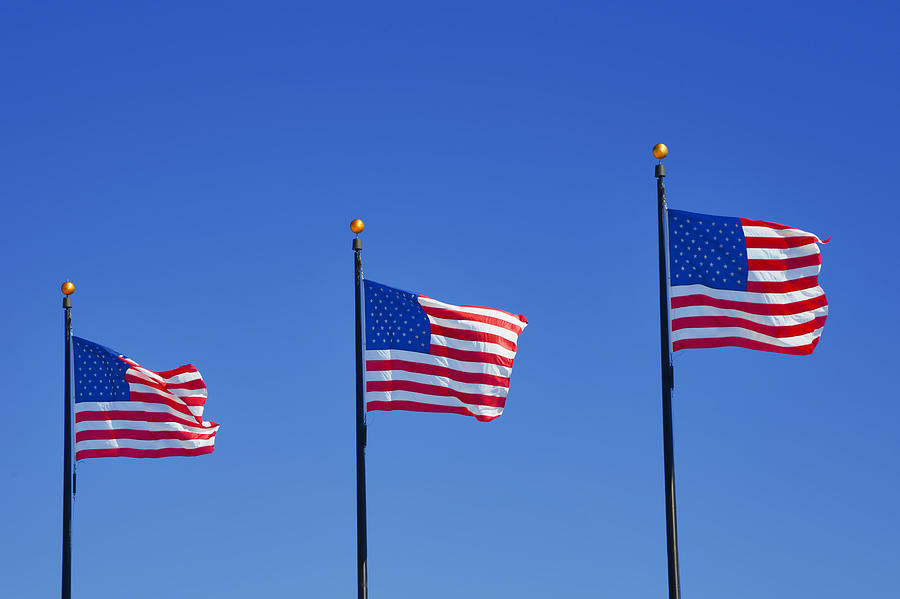 Three Photograph - American Flags - Navy Pier Chicago by Christine Till