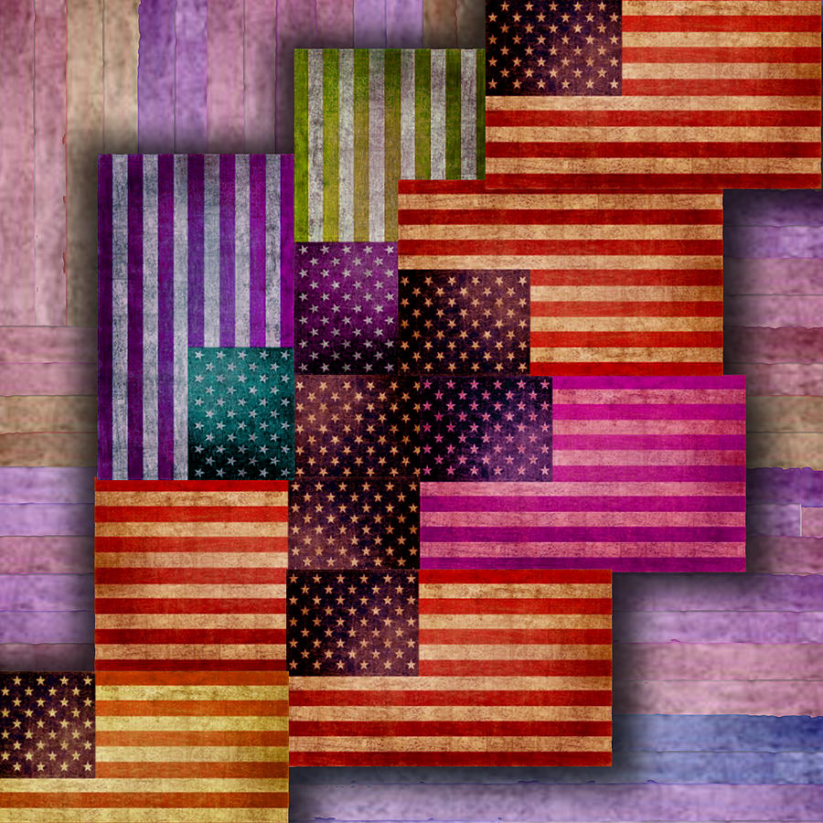 Liberty Painting - American Flags by Tony Rubino