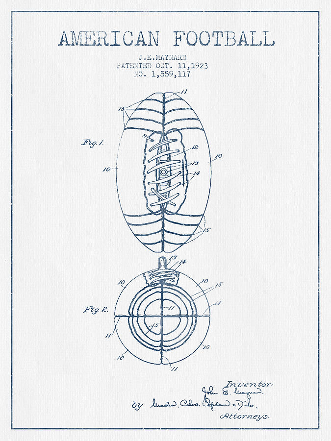 American Football Patent Drawing From 1923 - Blue Ink Digital Art