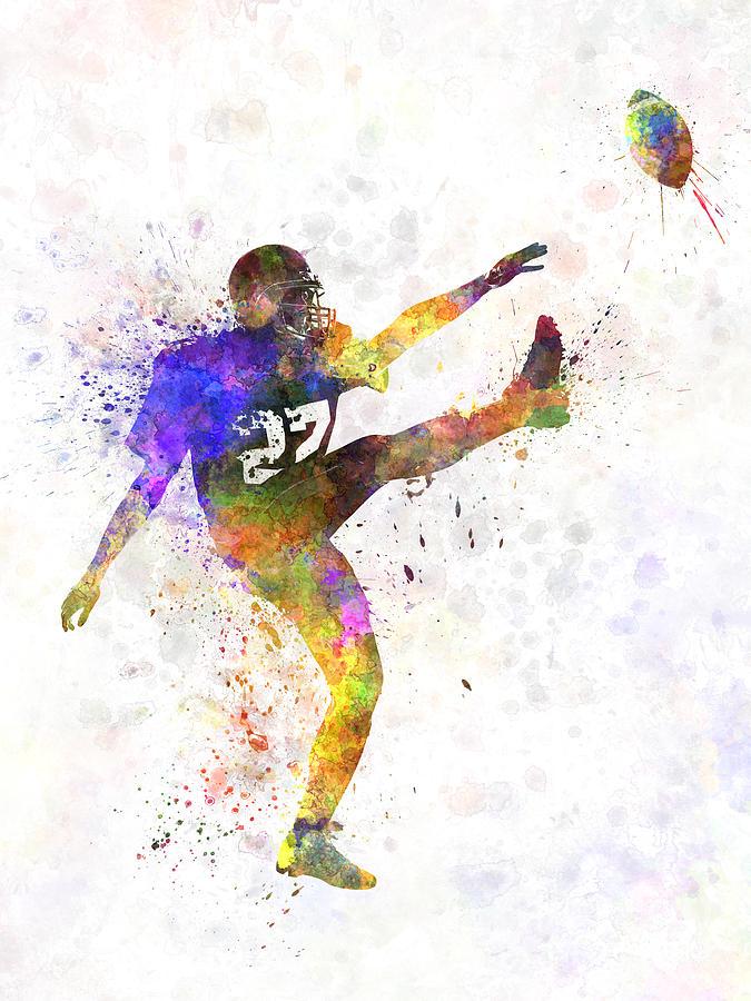 american football player man kicker kicking painting by