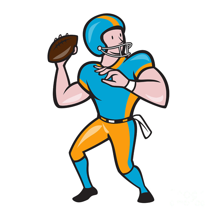 american football digital art american football quarterback qb throwing cartoon by aloysius patrimonio