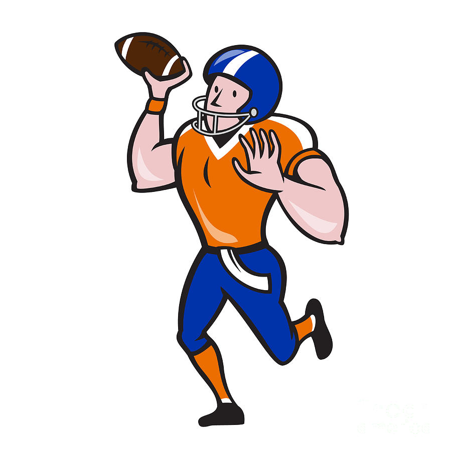 American Football Quarterback Throw Ball Isolated Cartoon Digital Art