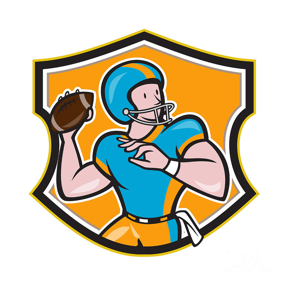 American Football Quarterback Throw Shield Cartoon Digital Art