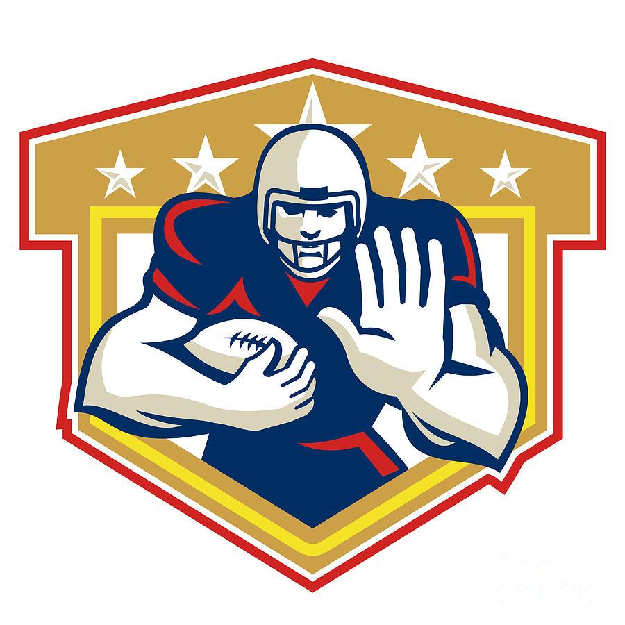 American Football Digital Art - American Football Running Back Fending Shield by Aloysius Patrimonio