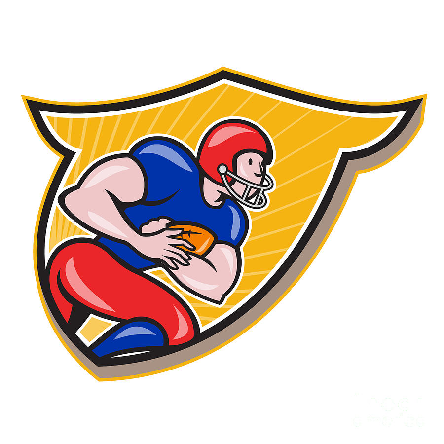 American Football Running Back Rushing Shield Cartoon Digital Art