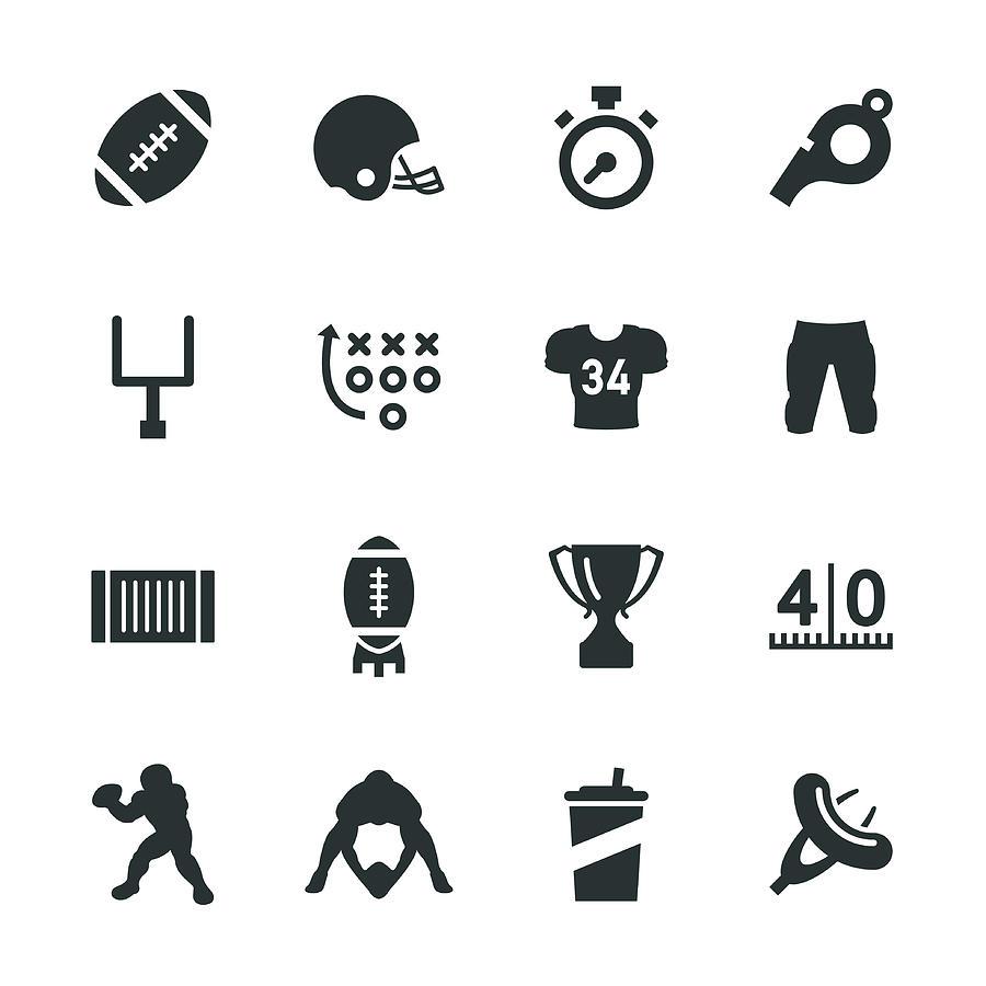 American Football Silhouette Icons Drawing by Rakdee