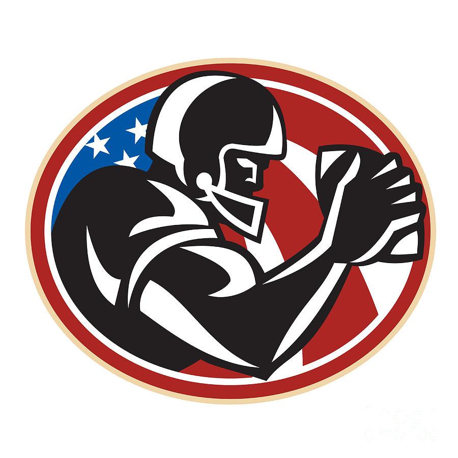 American Football Digital Art - American Football Wide Receiver Ball by Aloysius Patrimonio