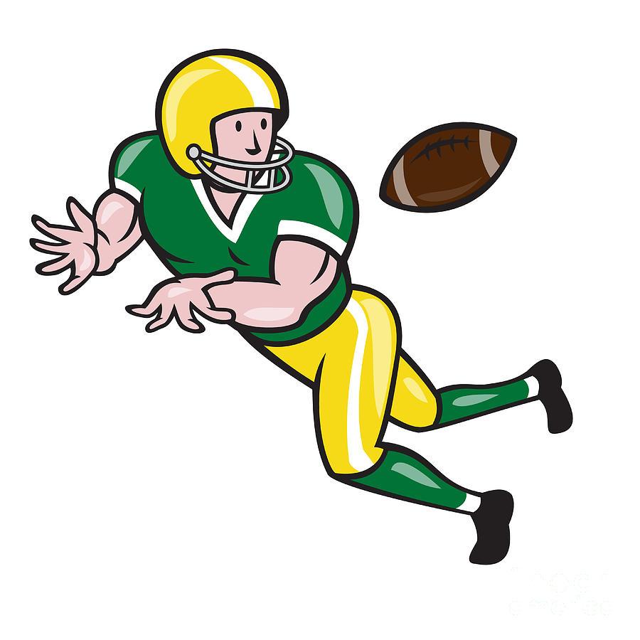 American Football Digital Art American Football Wide Receiver Catch Ball Cartoon By Aloysius Patrimonio
