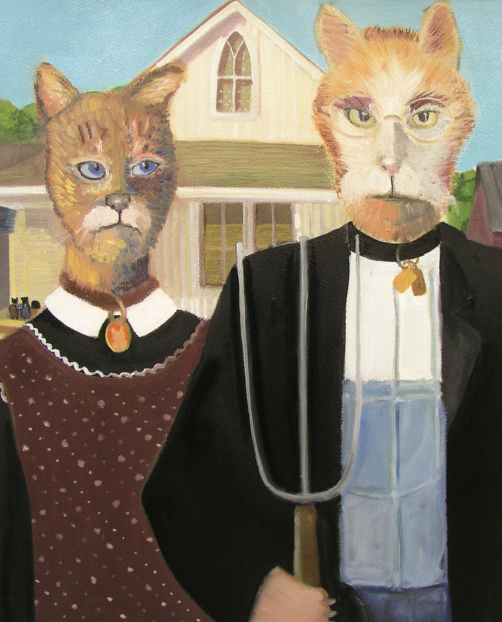 Cat Painting - American Gothic Cat by G Kitty Hansen