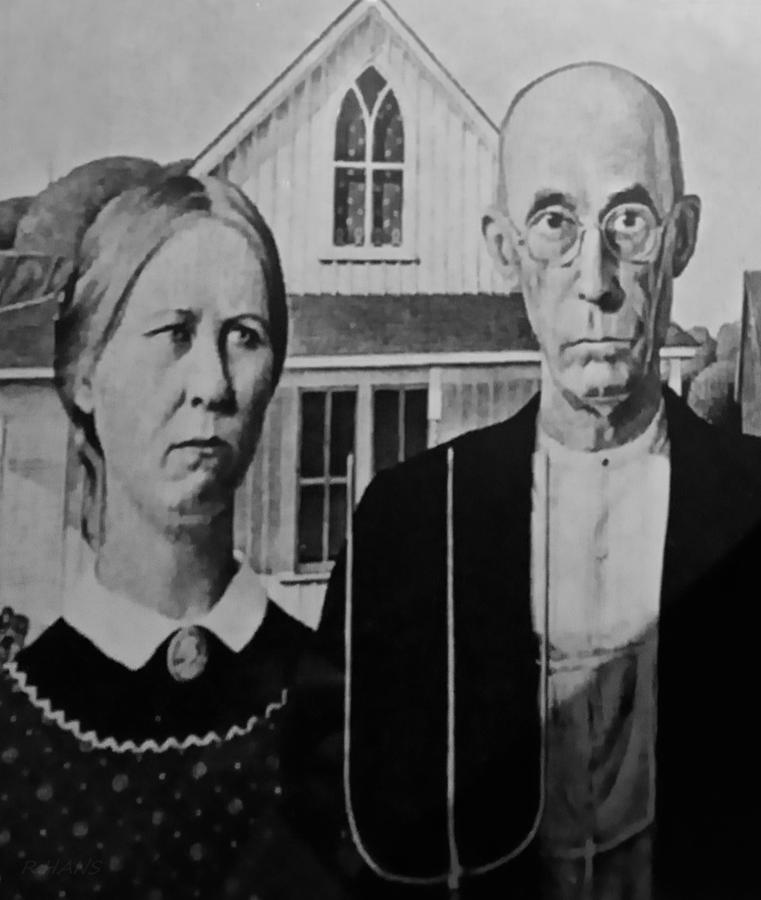 Americana Photograph - American Gothic In Black And White by Rob Hans