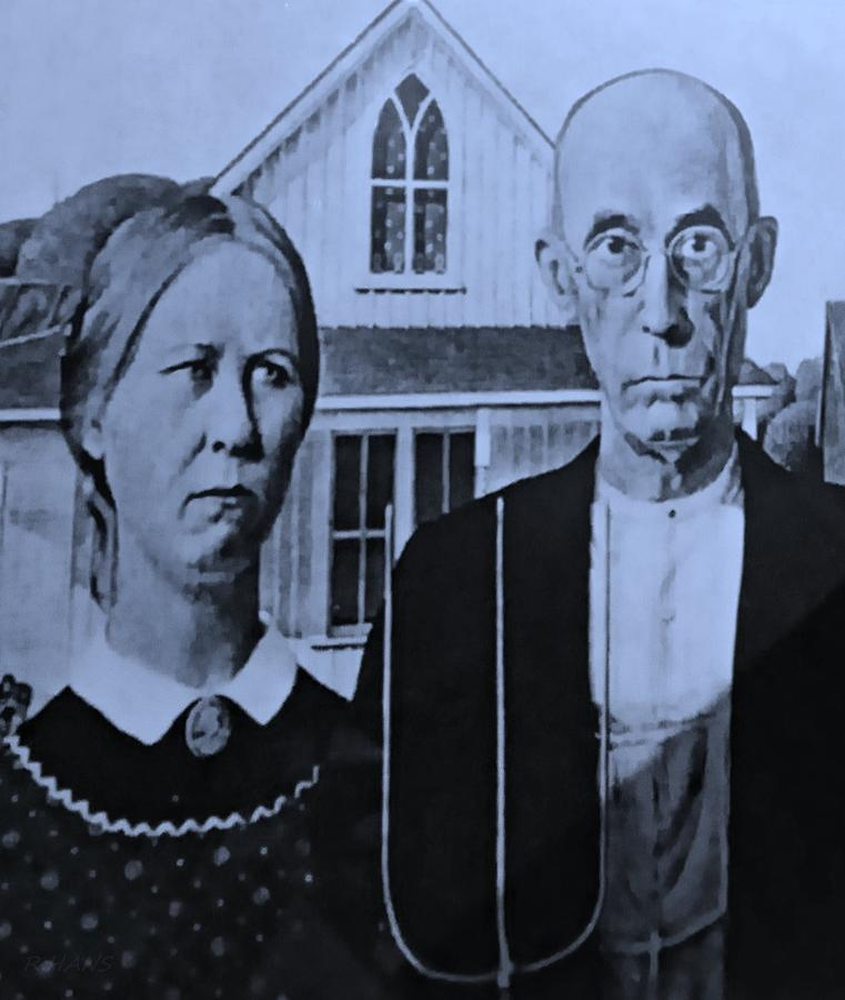 Americana Photograph - American Gothic In Cyan by Rob Hans
