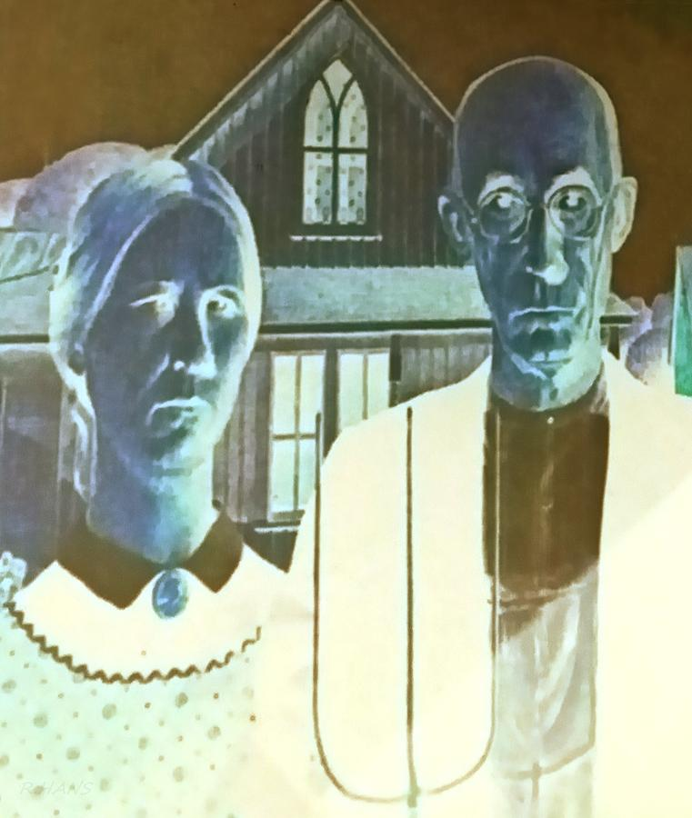 Americana Photograph - American Gothic In Negative by Rob Hans