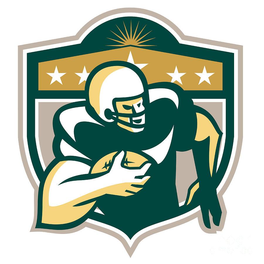 American Football Digital Art - American Gridiron Wide Receiver Running by Aloysius Patrimonio