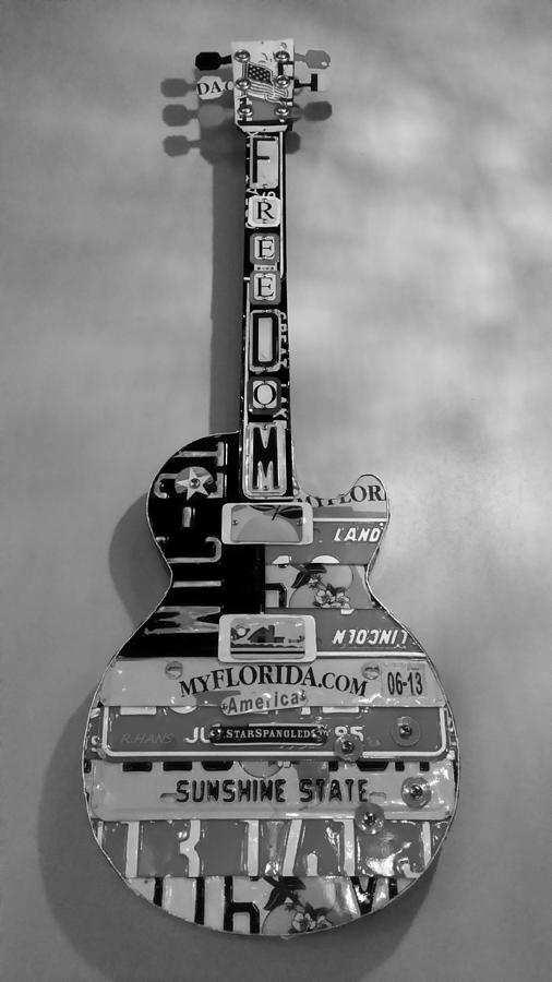 Star Spangled Photograph - American Guitar In Black And White by Rob Hans