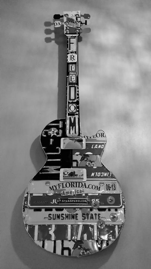 Star Spangled Photograph - American Guitar In Black And White1 by Rob Hans