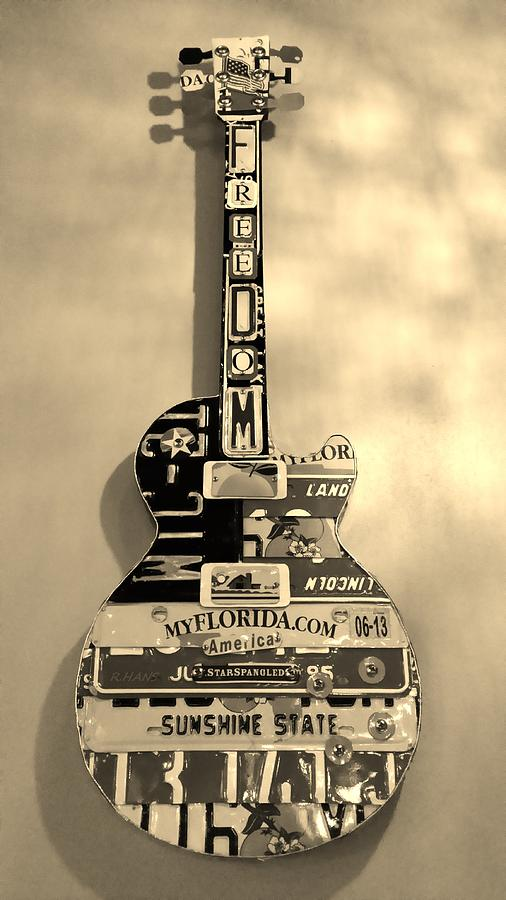 Star Spangled Photograph - American Guitar In Sepia by Rob Hans